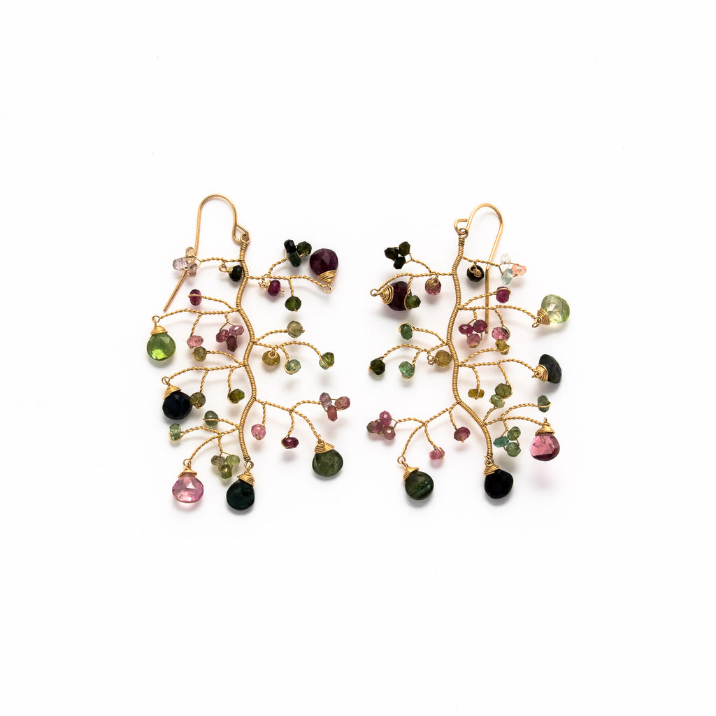 LINA - Tourmaline branch earrings