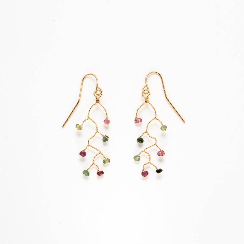 LINA - Mini tourmaline branch earrings