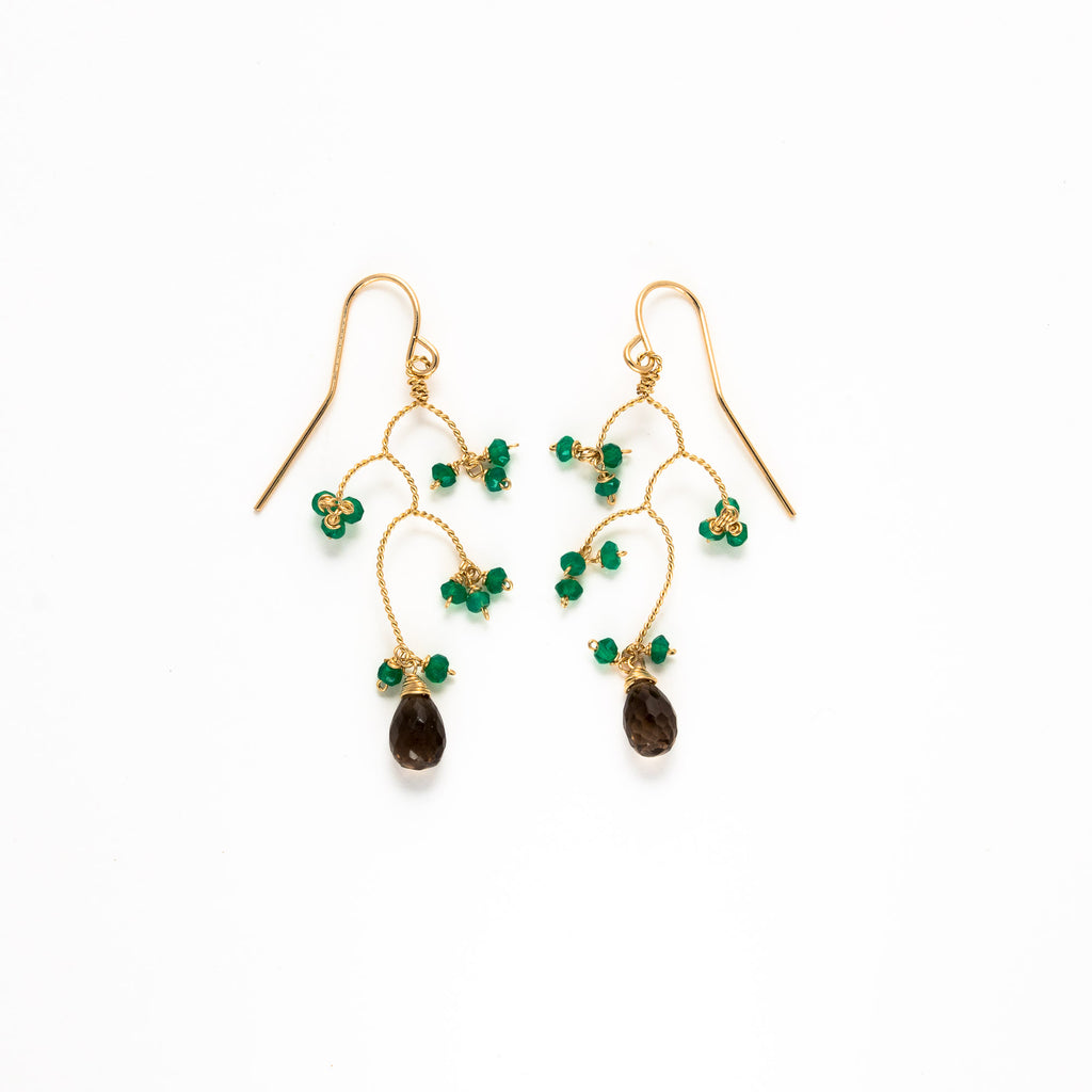 LINA - Smoky quartz branch earrings