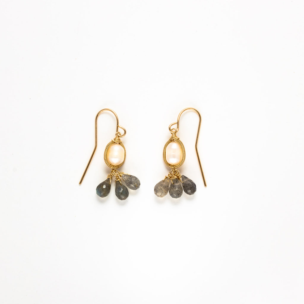 LINA - Pearl with Labradorite drop earrings