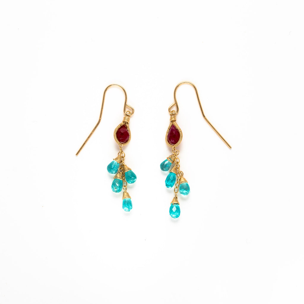LINA - Ruby and Apatite drop earrings