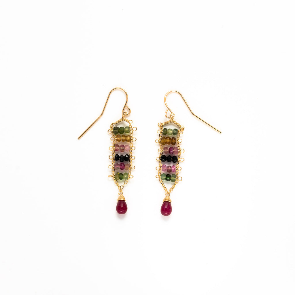 LINA - Beaded Tourmaline and Ruby drop earrings