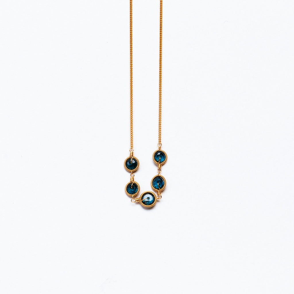 LINA - Blue Topaz disc necklace