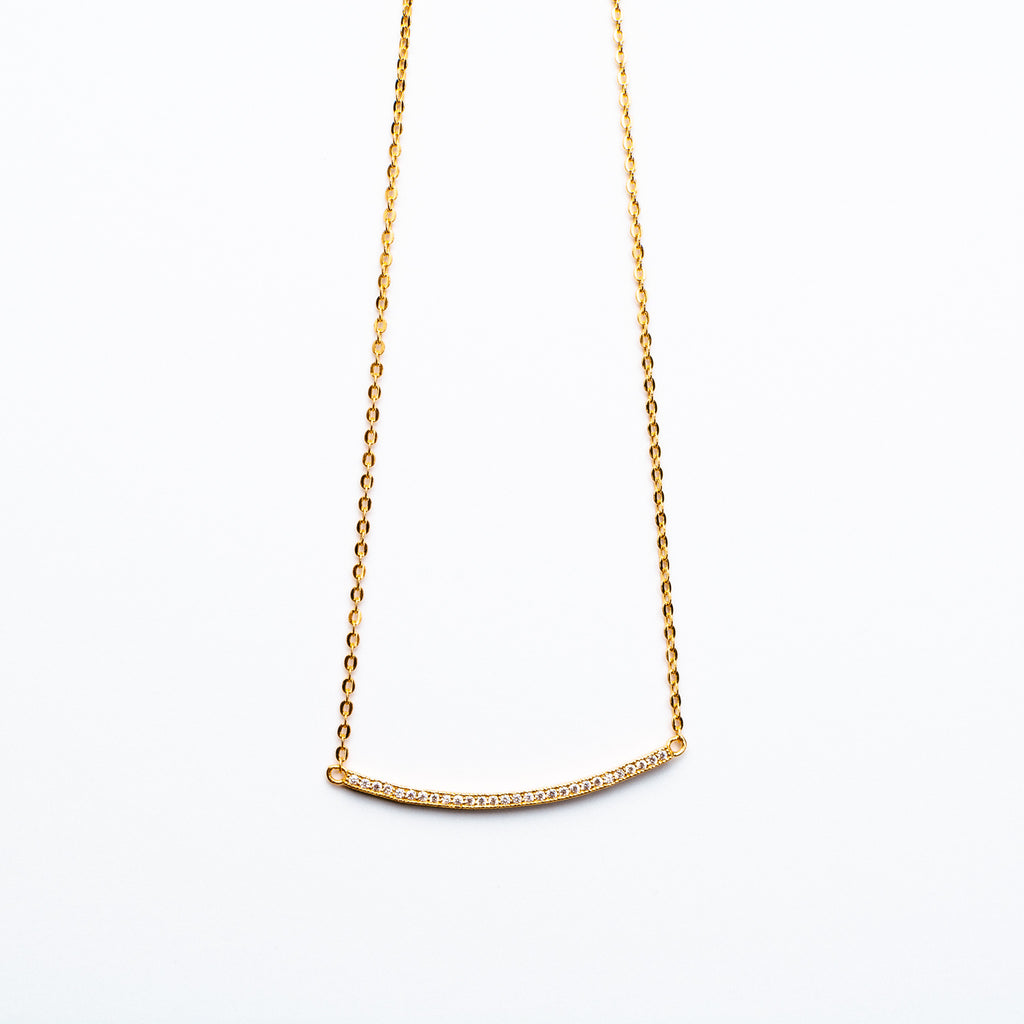 NSC - Curved Bar CZ Necklace in Gold Plated
