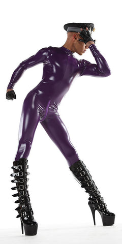 Purple PVC catsuit for men and women.