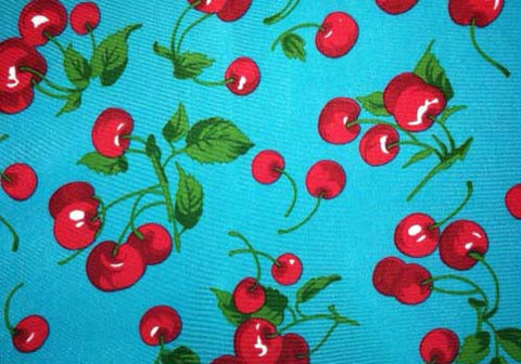 Blue Spandex Leggings With Cherries Print