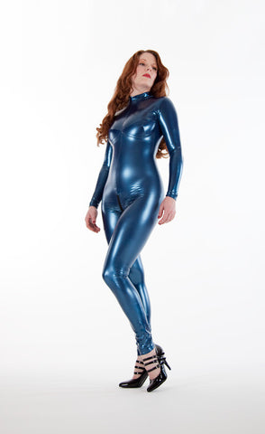 Blue Latex Look PVC Catsuit with Crotch Zipper - Vinyl catsuit