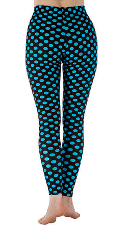 Black with Blue Dots Spandex Leggings
