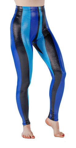Blue Striped Sparkle Spandex Leggings