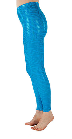 Teal Tiger Sparkle Spandex Leggings