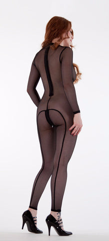 Nude Mesh Back Seam Catsuit