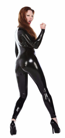 Latex Look PVC Catsuit with Crotch Zipper - Vinyl catsuit