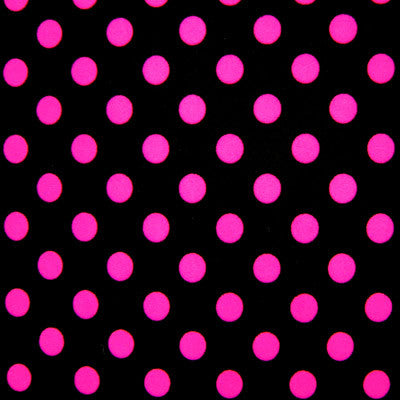 Black spandex with pink polka dots
