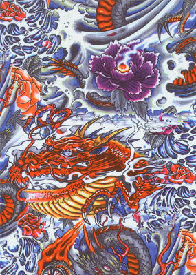 Tasty Tiger dragon tattoo print spandex