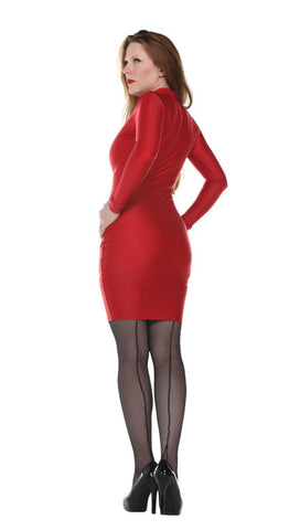 Long Sleeve Red Spandex Dress