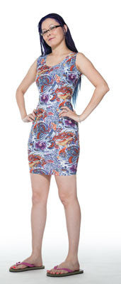 Dragon tattoo print spandex dress tank top style by Tonya Winter