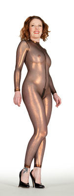 Copper Metallic Mesh Back Seam Catsuit