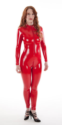 Red Latex Look PVC Catsuit with Crotch Zipper - Vinyl catsuit