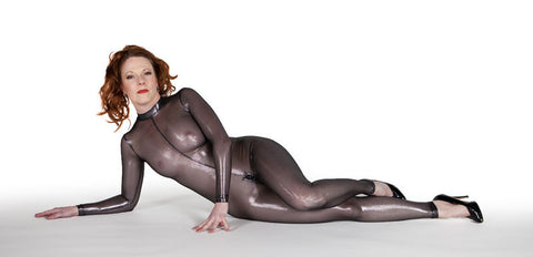 Silver Metallic Mesh Back Seam Catsuit