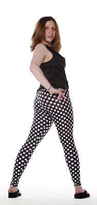 Tasty Tiger spandex leggings in black and white polka dot