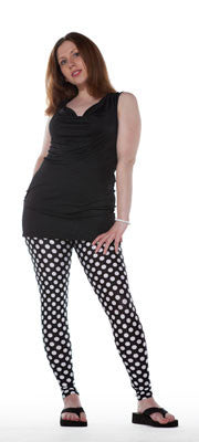 Black and white polka dot spandex leggings by Tasty Tiger
