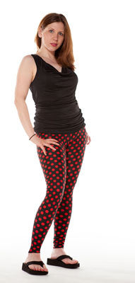 Tasty Tiger Spandex Leggings Black and Red Dot
