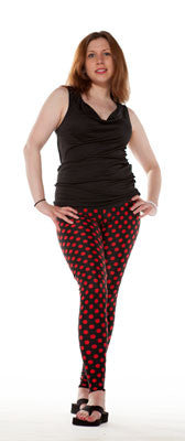 Black and Red Polka Dot Women's Spandex Leggings by Tasty Tiger