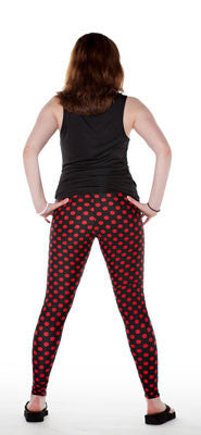 Black and red dot womens spandex leggings by Tasty Tiger