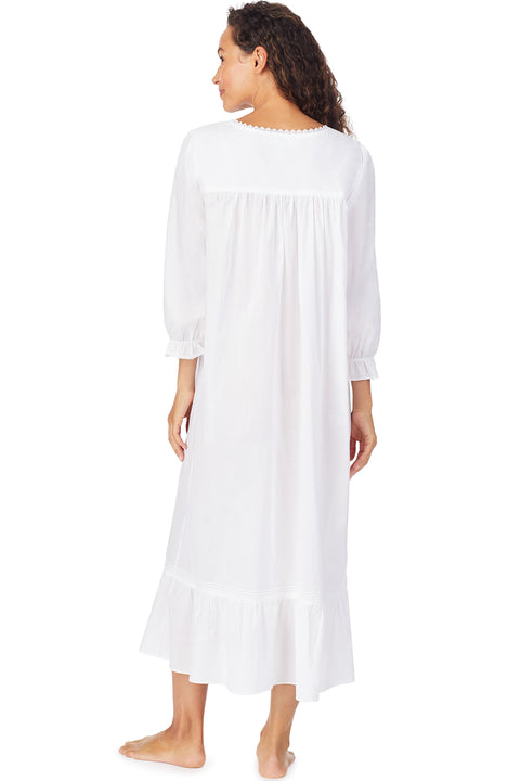 White Dahlia Long Sleeve Nightgown