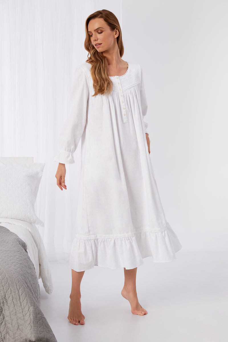 Embroidered White Flannel Jewel Gown