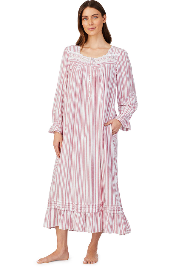 Cozy Berry Flannel Stripe Gown