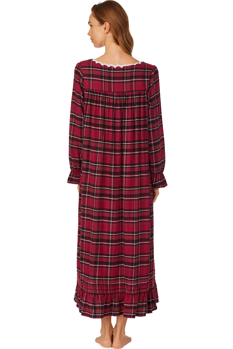 Cozy Berry Plaid Flannel Nightgown