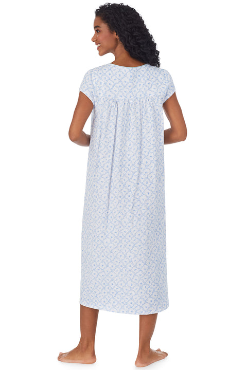 Blue Trellis Long Knit Nightgown