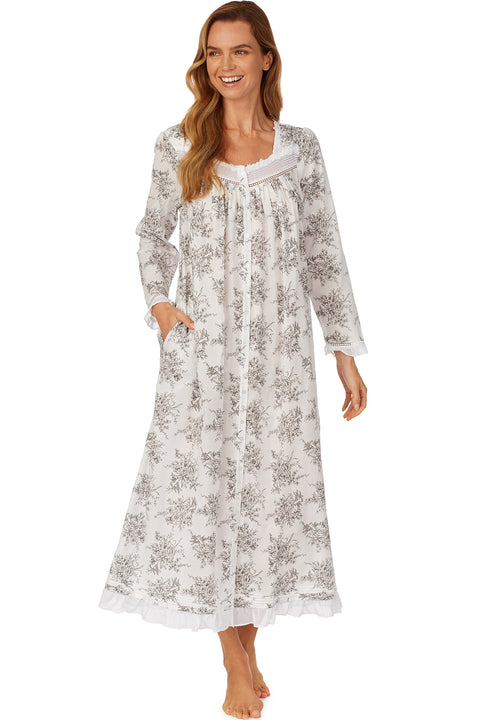 Grey Toile Button Front Robe