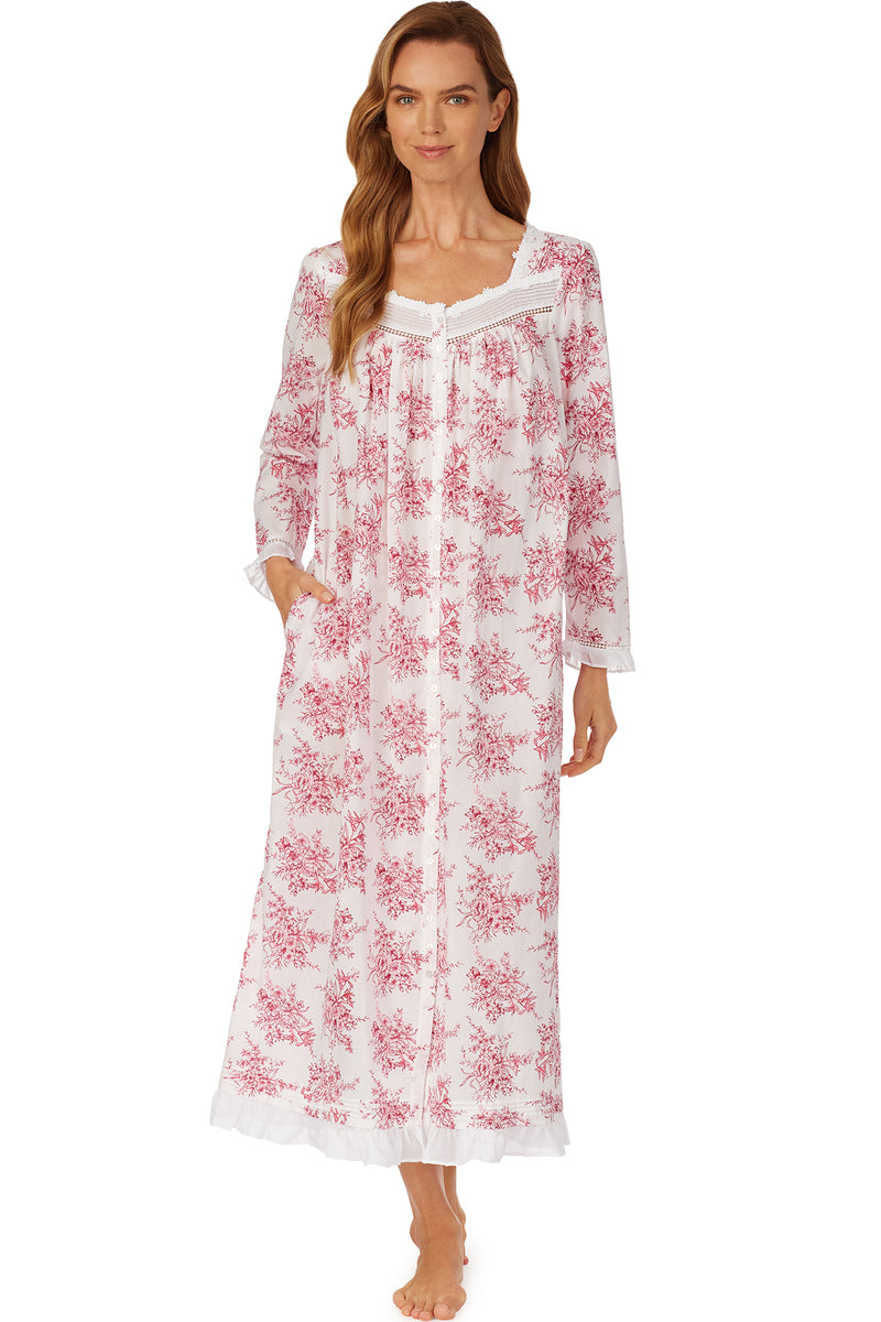 Berry Toile Button Front Robe