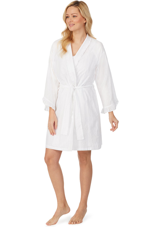 Dobby Stripe Short Wrap Robe