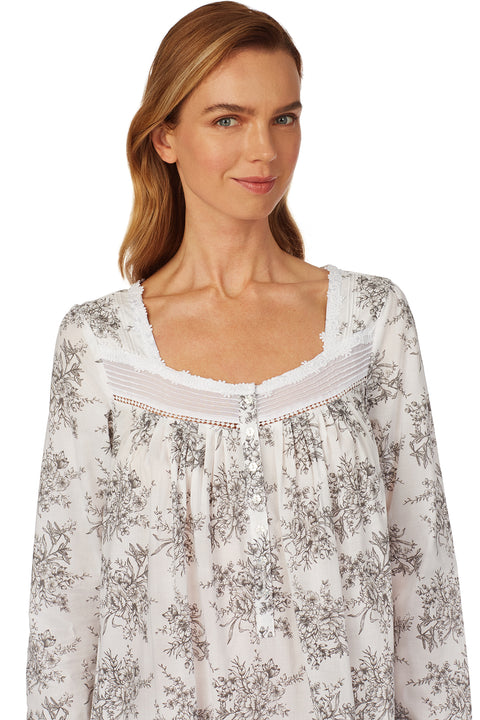 Grey Toile Long Sleeve Nightgown