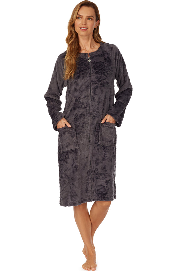 Lux Charcoal Embossed Zip Robe