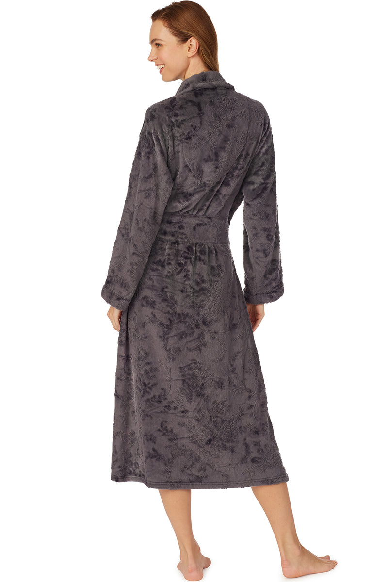 Lux Charcoal Embossed Wrap Robe