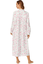 Pink Roses in the Snow Flannel Highneck Gown