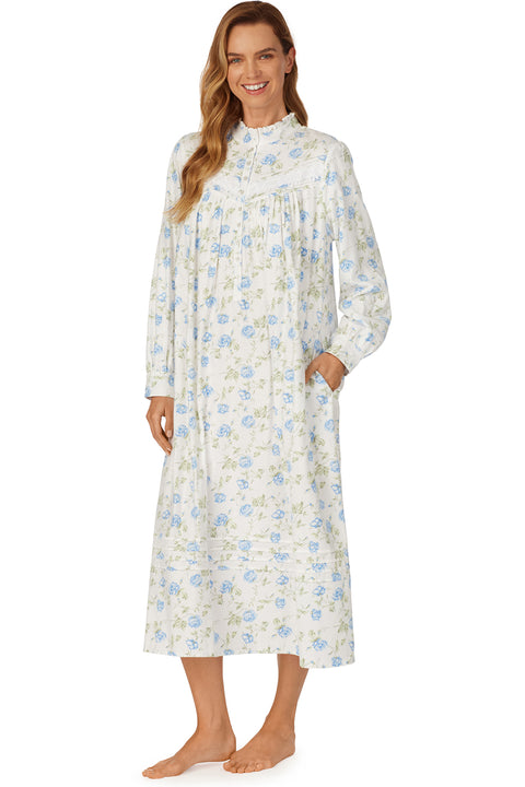 Blue Roses in the Snow Flannel Highneck Gown