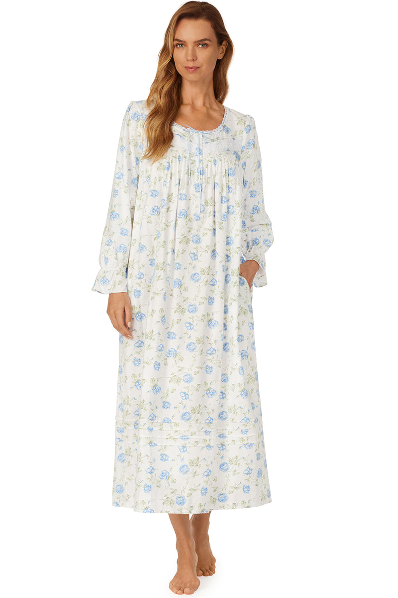 Blue Roses in the Snow Flannel Ballet Gown