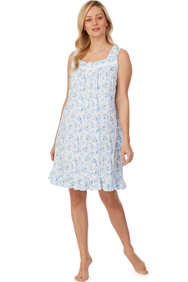 Blue Rose Garden Short Knit Nightgown - Plus