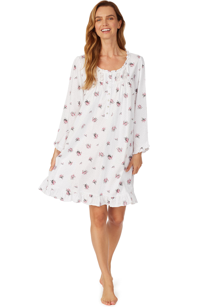 Cheer Blossom Long Sleeves Short Nightgown- Plus
