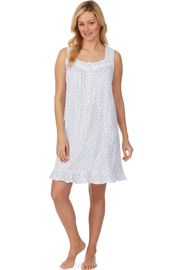 Blue Trellis Short Knit Nightgown - Plus