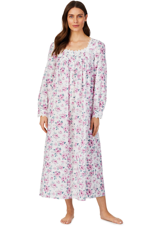 """NWT EILEEN WEST 100/% COTTON FLORAL L//S 46/"""" LONG BALLET NIGHTGOWN GOWN $64 SMALL"""