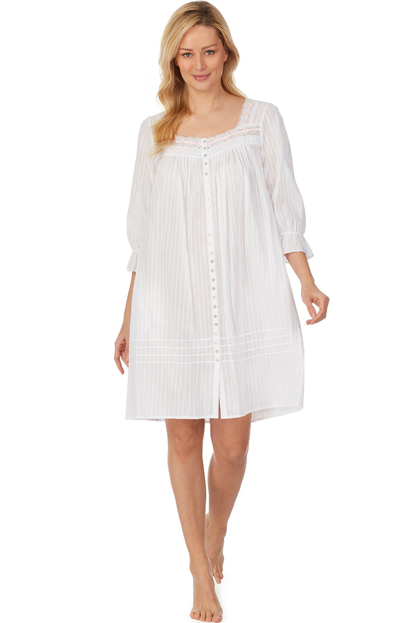 Cotton Bliss White Dobby Stripe Shortie Robe