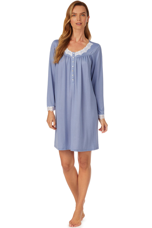 Cozy Blueberry Short Nightgown- Plus