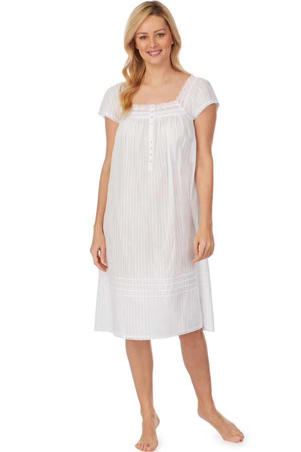 Cotton Bliss White Dobby Stripe Waltz Nightgown