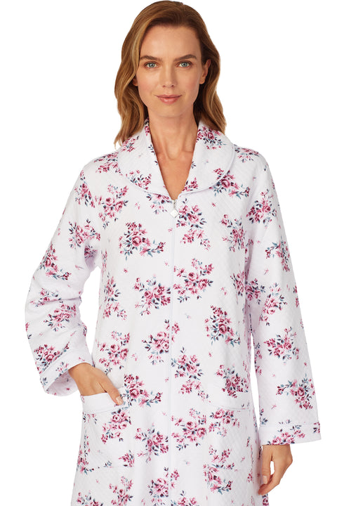 Plumberry Floral Quilted Waltz Zip Robe
